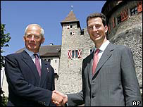 Prince Hans-Adam II of Liechtenstein (left) with son Prince Alois