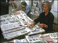 Newspaper stall, Durres, Albania