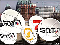 Logos of German cable/satellite TV stations on rooftop dishes