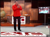 President Chavez presents his weekly TV/radio programme