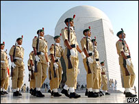 Soldiers march past the Jinnah Mausoleum, Karachi, 2005