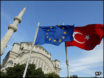 Turkish and EU flags fly outside Istanbul mosque