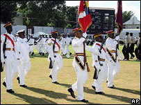 Antiguan armed forces at ceremony to mark 25 years of   independence, 2006