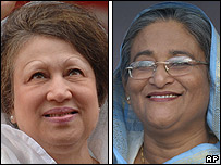 Bangladeshi party leaders Begum Khaleda Zia (left) and Sheikh   Hasina