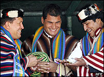 Ecuadore's President Rafael Correa with his Venezuelan and   Bolivian counterparts