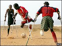 Amputees play football