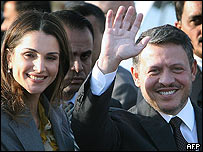 Jordan's King Abdullah and Queen Rania