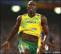 Bolt crossing the line in Men's 100m Final in Beijing 2008