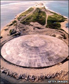 Concrete dome covers crater made by nuclear blasts