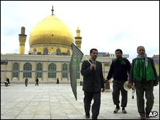 Pilgrims in front of the Askariya mosque in Samarra, one of Iraq's   holiest Shia sites